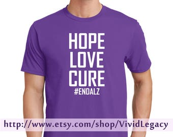 Hope Love Cure #EndAlz Purple T-Shirt Support Alzheimer's Unisex Men Women
