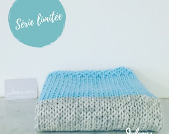 Birth blanket knitted handmade grey/aqua - 100% wool - birthday gift - unique - shipping within 48 h