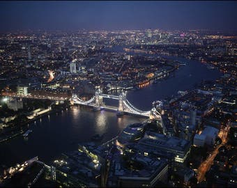 London at Night - Premium Aerial Photograph by Pro Photographer. Decorative Wall Art Print. British City Scene.