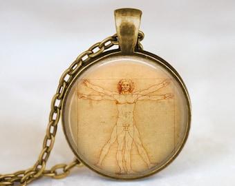 Leonardo da Vinci Vitruvian Man -  Handmade Pendant Necklace