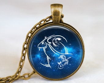Capricorn Zodiac Sign Constellation - Handmade Pendant Necklace