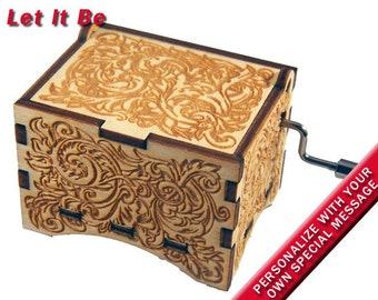 """Ornate Music Box, """"Let It Be"""", Laser Engraved Wood Hand Crank Music Box"""