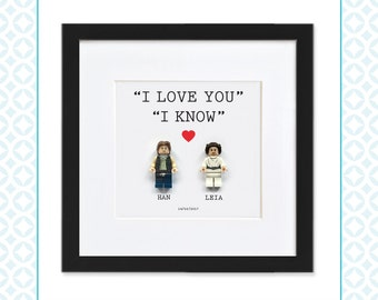 LEGO COUPLE - Han Solo & Princess Leia - Perfect for Valentine's Day, Wedding or Anniversary gifts - Star Wars - Love - Starwars