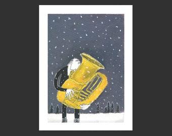Giclée »Snow falls softly at night«