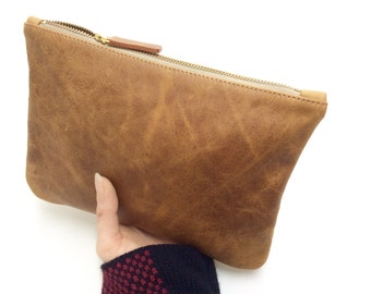 Suzi//Leather pouch. Brown Leather Pouch.Make up Leather zipper pouch.Evening leather clutch.Pochette.Wedding leather pouch.Ready to ship.