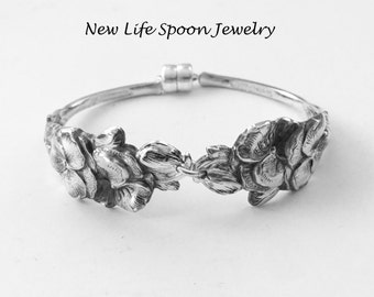 "Spoon Bracelet""Pansyblossom""By Harlequin Spoon Jewelry Vintage Bracelet Handmade Gift Christmas Silver Jewelry Rose Flowers-1"