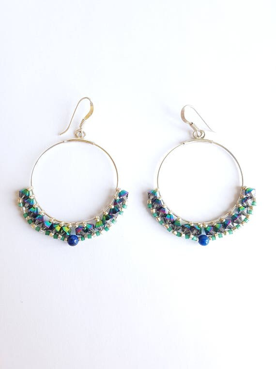 Hoops earrings Isis with crystals stones and lapis lazulli