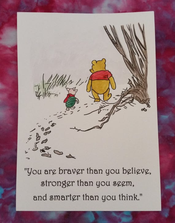 a4 winnie the pooh quote and watercolour painting hand