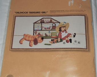 vintage 1977 sealed sunset stitchery childhood treasures girl 2611 embroidery kit fits 10x20 frame