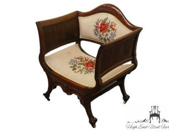 antique ornate ball u0026 claw deep arm chair w floral needlepoint