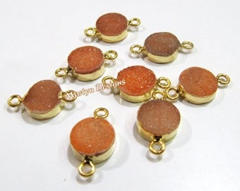 Top Quality Druzy Connector 24 Kt Gold Electroplated , Natural Peach Color Drusy Round Connectors , 10mm Double Loop Bezel Sold per Piece.