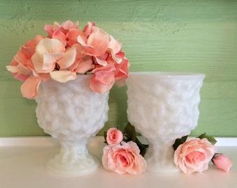 Milk Glass, White Vases, Compote Set, Pedestal Vases, Vintage Decor, Vintage Wedding, Milk Glass Lot, Brody