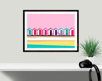 Art Print, Minimalist Modern Wall Decor, Beach Huts, Unique Housewarming Gift, High quality Giclée Print, Seaside decor, Summer GIft