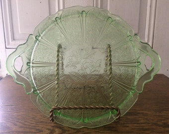 Jeannette Glass Green Cherry Blossom Handled Sandwich Tray