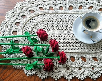 Large VERSAL oval textured Crochet doily - beauty handmade gift home decor table mat couche pañal Windel READY to ship