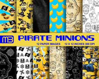 Pirate Minion digital paper pack - printable papers -