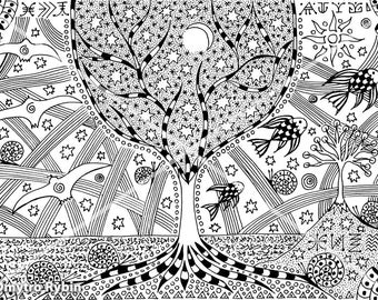 Day and night. A symbolic picture. Graphics gel pen