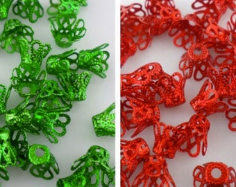 Bead caps, Aluminium green cup caps 8mm X 6 mm, 60 pieces Destash DIY Jewelry