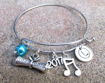 Graduation Gift , Graduation Bracelet, Graduation Charm Bracelet, Class of 2017 Gift, Personalized Graduation Bracelet, Grad Gift 2017