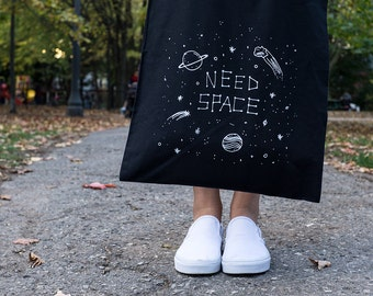 Space Tote Bag, Need Space Tote Bag, Illustrated Tote Bag, Tote Bag, Cotton Tote, Black Cotton Tote, Gifts for Introverts