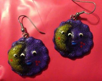 Purple sun and moon drop earrings