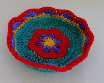 Flower Motif Small Basket Crochet Pattern