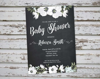 White Flowers Floral Baby Shower Invitation, Floral Printable Baby Shower Invite, Floral Baby Shower Invite, Floral White Baby Shower DIY