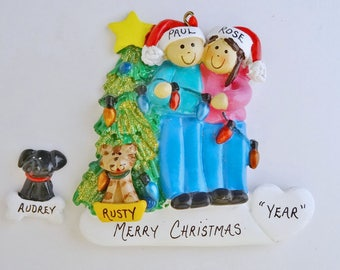 Couple with Custom Pet Dog/Cat  Personalized Christmas Ornament - Personalized Couple Ornament with Custom Dog or Cat Added