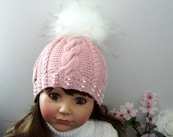 Girls Hat Knitted Hat Toddler Beanie Crochet Beanie Winter Hat PomPom Kids Children Hat Toddler Girl