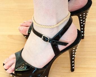 Bdsm anklet collar, slave anklet, submissive anklet, ankle bracelet Natural rope colour