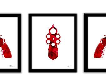 Red gun instant download, red revolver set Digital Download, revolver painting prit, red gun poster, revolver silhouette, western cowboy art