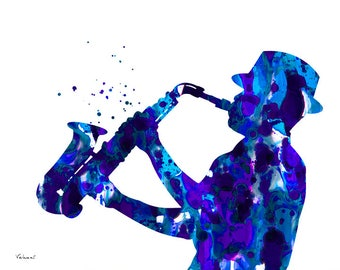 Jazzman art, saxophone player art print, jazz print, blue jazzman, music art, sax player print, jazz man silhouette, saxophone print