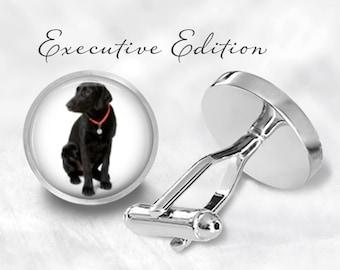 Cufflinks - Black Lab Cufflinks - Labrador Cufflinks - Black Lab Cuff Links - Dog Cufflink (Pair) Lifetime Guarantee (S0584)