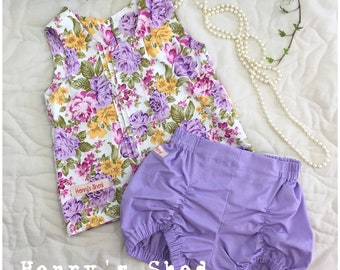 Puckers Shorts set with Pintuck Blouse