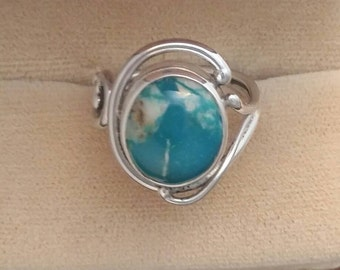 Variscite ring, sterling silver ring, art nouveau style ring, handmade,