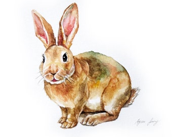 "Rabbit Original Watercolor Painting 4×6"", Animal Watercolor Illustration, Ooak Rabbit Art, Gift for Bunny Lover, Nursery Decor, Wall Art,"