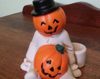 Halloween Jack O' Lantern Candle Holder - Ceramic