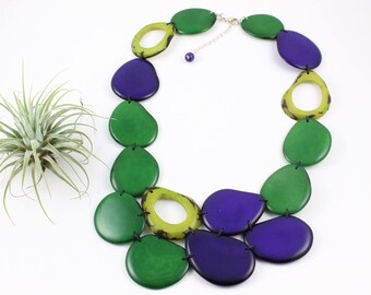 Tagua Necklace, Statement Necklace, Women gift, Bold Jewelry, Fashion Jewellery, Beaded unique necklace, Bib necklace, Tagua nut jewelry