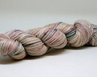 Fairy Wings mcn sock yarn hand dyed, Indie dyed mcn sock yarn for knitters and lovers of crochet, fine gauge yarn hand dyed in mauves