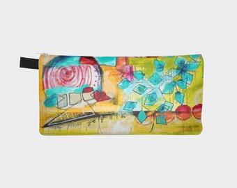 tui crayons color abstrait pochette tout usage pour voyage articles scolaires maquillage par marika lemay artiste avec fleurs colores - Colorant Les Artistes