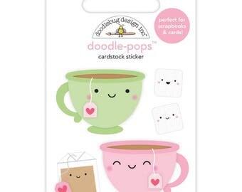 Doodlebug | Cream & Sugar | Doodle-Pop 3D Sticker | Tea for Two