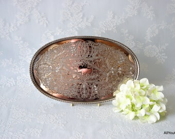 Viners of Sheffield Gallery Tray, Large Chazed Silver Tray, Oval Silver Tray, Embossed Silver Coffee Tray, Silver Butlers Tray, c 1930 s