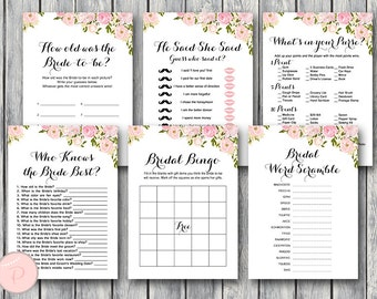 Pink Peonies Flower Bridal Shower Games Package, Instant Download, 6 Games Printable, Game Download, Bridal Shower Activities wd67 TH18