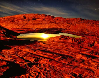 Canyonlands National Park Mesa Arch Moonshine Fine Art Giclée Print, Modern Wall Art, Utah Nature Scenery From The American Southwest