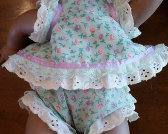 Doll clothes Two Piece Play Set 14-18 Inch Baby Doll Aqua Green and Pink Flowers