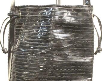 Vintage Tianni Black Patent Drawstring Purse