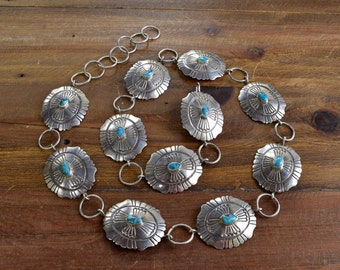 Vintage Navajo Turquoise Sterling Silver Concho Belt - HEAVY!