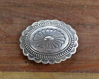 Vintage Navajo Sterling Silver Concho Belt Buckle