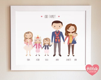 Custom portrait 6 people/pets ART PRINT, cartoon family portrait, personalised family illustration