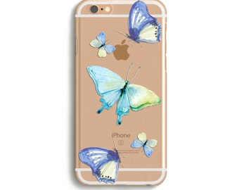 Butterfly Phone Case, iPhone case 6s plus, Butterfly Case, i Phone 6 case, Watercolor Butterfly, Blue iPhone 6 Case //  for 5/6/7 iPhones
